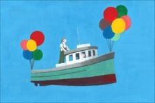 Fishing boat fly with balloon.