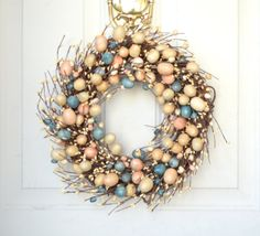 Easter Egg Wreath   peach blue pastel eggs  by laurelsbylaurie, $55.00