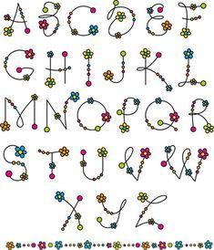 Flower alphabets letters vectors 02