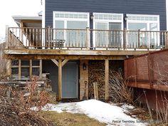 How to Build a Deck - Wrap Around Porch Raised Deck and Under Deck Storage - Modern Design Deck Building Plans, Deck Plans, Building A Shed, Building Design, Deck Ideas Canada, Porch Trim, Front Porch, Under Deck Storage, Rustic Deck