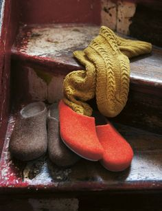 hand knit socks + felt slippers <3