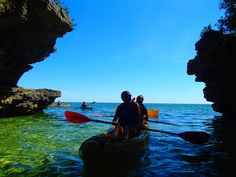 Kayaking with Door County Kayak Tours, llc. at Cave Point County Park in Sturgeon Bay, WI