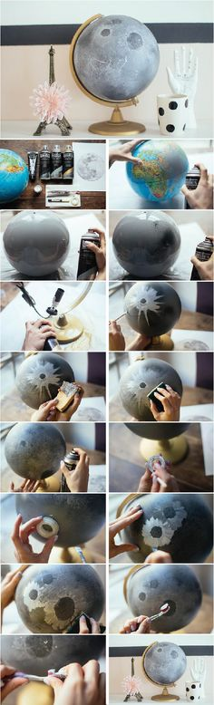 DIY / how to make a moon globe <3