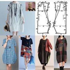 Tunic Sewing Patterns, Clothing Patterns, Dress Patterns, Sewing Clothes, Diy Clothes, Cocoon Dress, Plain Dress, Pattern Cutting, Fashion Sewing