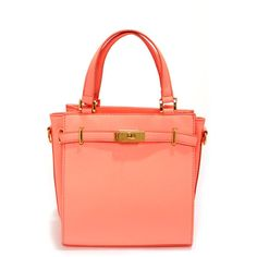 Bright and Early Neon Coral Purse ($43) found on Polyvore