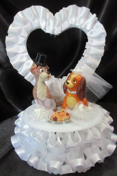 Lady and the Tramp wedding cake topper by 1topper on Etsy