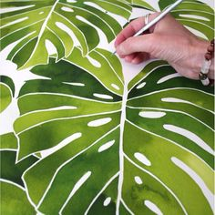 Meet Jenny Kiker of Living Pattern - The Jupiter Local Plant Painting, Plant Drawing, Plant Art, Silk Painting, Watercolor Leaves, Watercolor Paintings, Jungle Art, Painting Lessons, Beautiful Mess