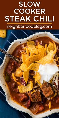 This hearty Slow Cooker Steak Chili is an easy, comforting meal that's packed with tender hunks of steak, beans, and veggies. Steak Chili Recipe, Spicy Steak, Chili Recipes, Soup Recipes, Slow Cooker Steak, Slow Cooker Chili, Slow Cooker Recipes, Crockpot Recipes, Classic Chili Recipe