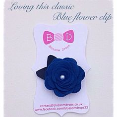 Classic Navy flower clip with Navy leatherette leaves#girls#hairaccessories#handmade#bows#flowers #felt #leatherette