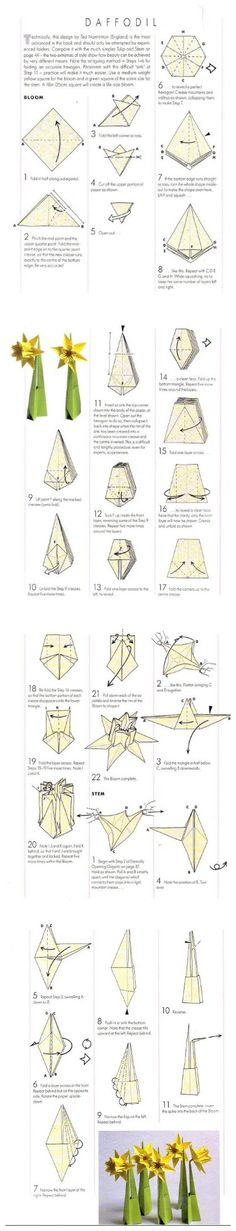 Daffodil Origami Tree, Origami Leaves, Origami And Quilling, Origami And Kirigami, Origami Paper Art, Origami Stars, Diy Paper, Paper Crafts, Origami Flowers Tutorial