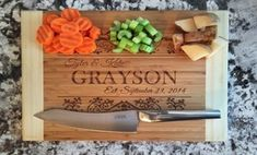 Feel at home with personalized wooden cutting boards, picture frames, kitchen utensils, and address signs bearing intricately etched designs