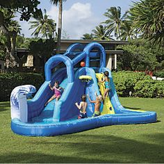 Surf N Splash Water Park:A terrific investment in backyard joy! Kids will spend hours and hours in this supersized water park, with thrilling water slide, tidal wave wall, splash pool, climbing wall, and basketball hoop. And thanks to constant air technology, it sets up almost instantly. Got two minutes? Get a summers worth of fun! Deflates quickly, too. Sturdy and durable; this is a Banzai® water slide...