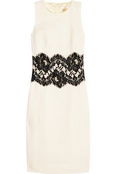 Michael Kors  Lace-trimmed stretch wool-crepe dress