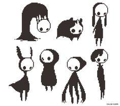 I forgot I also doodled up these things last week. Art Sketches, Art Drawings, Dessin Old School, Modele Pixel, Pixel Animation, 8bit Art, Arte Obscura, Pixel Art Games, Creepy Art