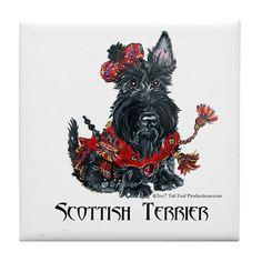 Celtic Scottish Terrier Tile Coaster on CafePress.com