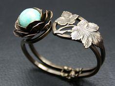 bracelet twenties feuille perle semi précieuse amazonite julie sion
