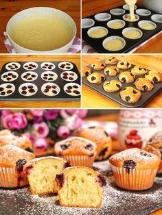 Vişneli Topkek (Muffin) (videolu) – Nefis Yemek Tarifleri – Diyet Yemekleri – The Most Practical and Easy Recipes Cupcake Muffin, Cherry Cupcakes, Homemade Beauty Products, Brownie Recipes, Cinnamon Rolls, Muffins, Food To Make, Brunch, Cookies