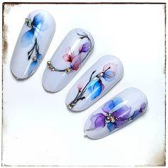 Dope Nails, 3d Nails, Aqua Nails, Water Color Nails, Nail Stencils, Alcohol Markers, Nail Art Hacks, Nail Wraps, Watercolor Flowers