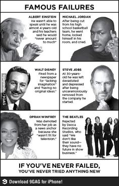 Famous Failures.  Just keep swimming, swimming, swimming .....