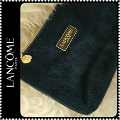 Lancome Cosmetic Traveler Bag NWOT, Lancome Paris Signature Cosmetic Bag, Faux Fur Style in Dark Teal Shade, Gold Tone Hardware, Zipper Closure, Approx Size 7 in x 4.5 in x 2 in,  NEW Lancome Bags Cosmetic Bags & Cases