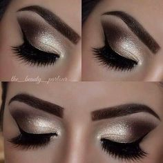 Shimmery gold and dark brown