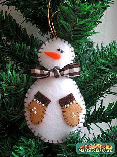 Елочная игрушка Снеговик своими руками, мастер класс
