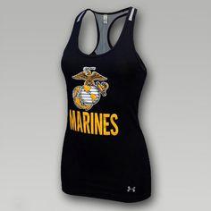 Under Armour Womens Marines Mesh Back Victory Tank   ArmedForcesGear.com