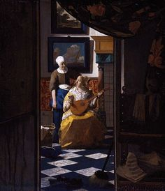 Jan VerMeer had an eye for interior spaces.  I like this painting because of the tile pattern it shows.  Note the repeating blue cross.  The look on the lute players face is pretty interesting.  Just what does that note say.