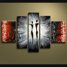 Beautiful Modern Abstract Painting Oil Painting On Canvas Gallery Stretched Figure. This 5 panels canvas wall art is hand painted by V.Chua, instock - $155. To see more, visit OilPaintingShops.com