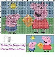 Peppa Pig e George leggono un libro schema punto croce