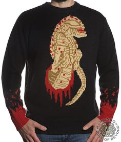 Product in Stock Ships in 1-2 Days  Mondo x Middle of Beyond bring you this officially licensed Aliensweater. This sweater is made of 100% acrylic. Black, red, brown, and tanin color. It is decorated withthe Chestburstercentral image and ablood drips on the sleeves. Size Chart
