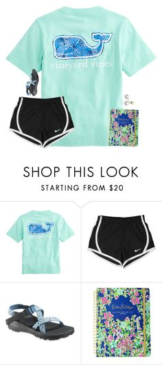 """""""which Lilly agenda do y'all have?"""" by preppy-ginger-girl on Polyvore featuring NIKE, Chaco, Lilly Pulitzer and Mikimoto"""