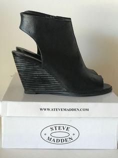 STEVE MADDEN Black Leather FAINE Wedge Sandals Size 9  #SteveMadden #PlatformsWedges