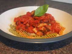 Lemony Aubergine pasta sauce weightwatchers recipe - pointsplus/propoints