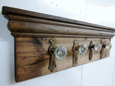 Architectural Salvage Coat Rack, Rustic Coat Rack, Antique Glass Door Knob Coat…