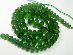 160 Ct 4.7-9.8 MM Top Natural Green Serpentine Micro Faceted Roundel 41 CM SBD-6 #Unbranded #Faceted