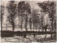 Lane with Poplars by Vincent van Gogh Letter Sketches,   Nuenen: November - early in month, 1885
