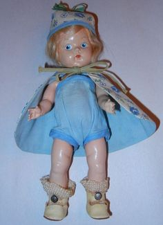 VINTAGE VOGUE HP PRE- GINNY DOLL  PE PAINTED STRUNG ORIGINAL TAG OUTFIT SHOES
