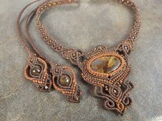 Macrame Necklace  Bronzite With Brown Thread Hot by neferknots