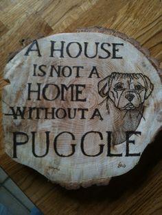 Burned wood sign for Puggle lover