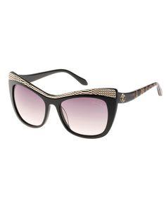8b0e6a2dcd D0WU0 Roberto Cavalli Muscida Snake-Brow Cat-Eye Sunglasses, Black/Leopard  Rent