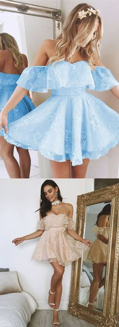 cute a-line off the shoulder lace homecoming dress ruffle sleeves prom short dress for graduation party