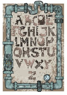 steampunk alphabet font/letters, digital collage sheet--printable downloads for paper crafts--no. 176. $3.00, via Etsy.