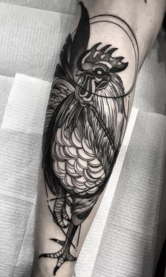 Black Rooster Tattoo