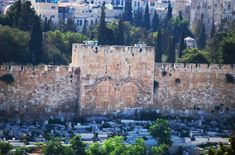 The Golden gate on the east side of the walls of jerusalem