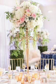 centerpiece in a gold candelabra