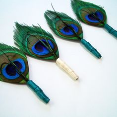 Feather Peacock Boutonniere or Lapel Pin for the Groomsmen with Purple Wrap - SIMPLICITY. $10.00, via Etsy.