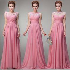 2014 Free Shipping - Wholesale Floor Length with Cap Sleeve Pink Chiffon Elegant Pleated Long Empire Maternity Bridesmaid Dress $68.00