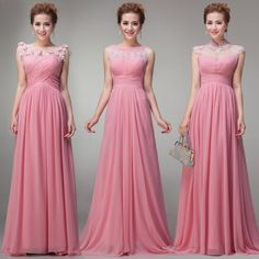 2014 Free Shipping - Wholesale Floor Length with Cap Sleeve Pink Chiffon Elegant Pleated Long Empire Maternity Bridesmaid Dress $68.00