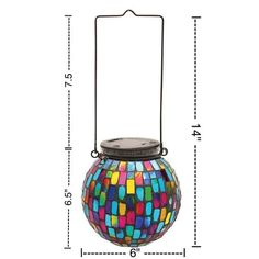 MOSAIC GLASS GLOBE LIGHT - Tabletop or Hanging Mosaic Color Changing Light #MOSAICLIGHT #MosaicGLASSGLOBE #MosaicGlobeLIGHT